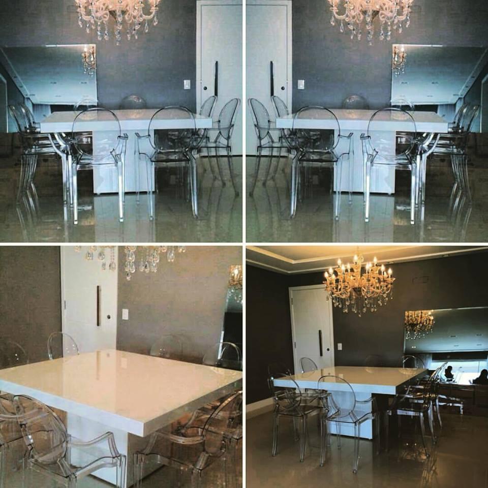 Mesa de vidro Branca